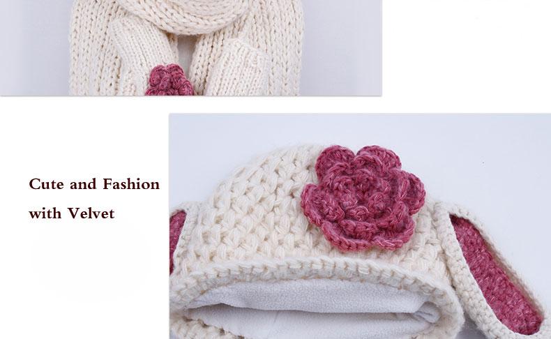 √Civichic lindo conejo orejas calientes knit set sombrero bufanda ...