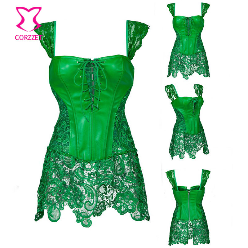 6e08e487036 Green Leather and Lace Skirted Gothic Espartilhos E Corpetes Burlesque  Corset Steampunk Clothing Plus Size Corsets and Bustiers