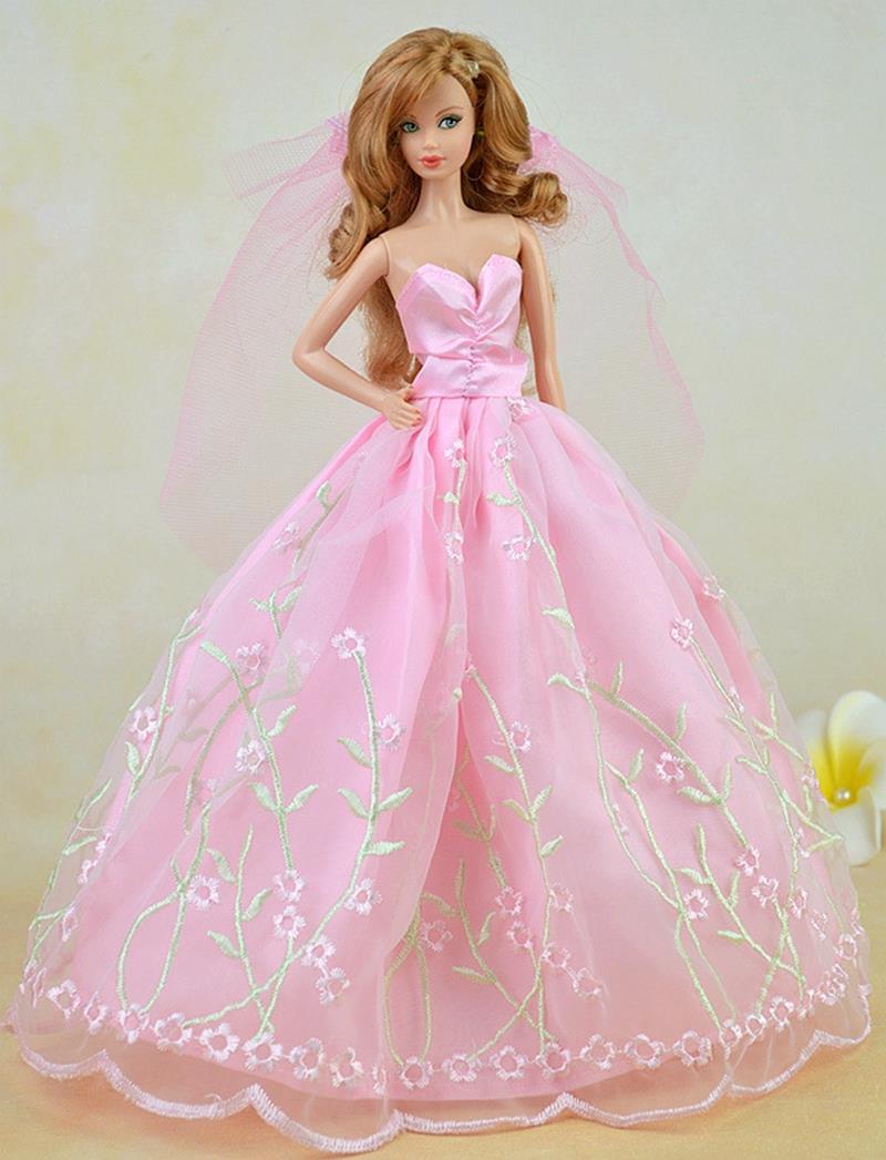 இPretty Pink vestido de novia para Barbie Muñecas largo vestido + ...