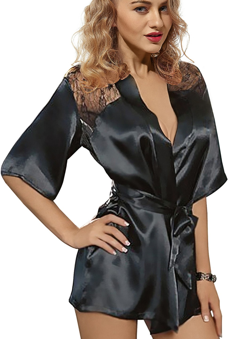 ᗚnew sexy lingerie satin lace back style ladies robes night gown