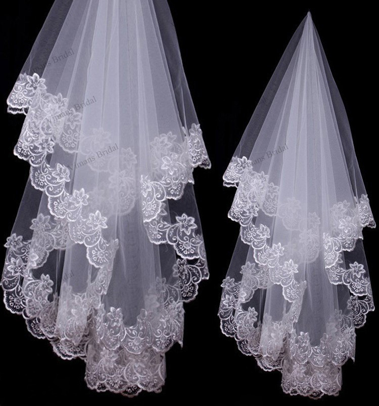 Aliexpresscom  Buy 2015 Cheap Wholesale In Stock Wedding Accessories Lace Edge Bridal Veils