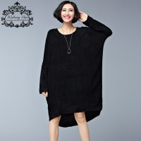 Plus Size 2016 Women's Dresses Black Long Tops&Tees Woolen ...