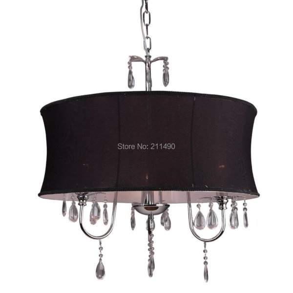 Black Fabric Drum Shade Crystal Modern Chandelier Chrome Finish With 3