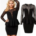 Plus Size Long Sleeve Peplum Dresses
