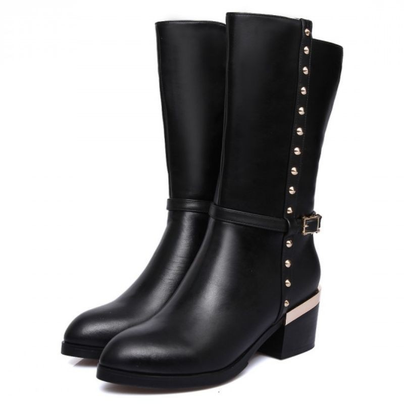 0fa19b58da Tamanho 33-44 mulheres couro real genuíno salto alto botas meados de bezerro  metade curto salto botas marca de neve quente sapatos calçados bota R8037