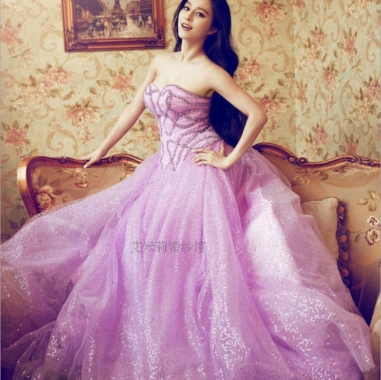 ④Vestido de debutante cristal novia luz púrpura largo Masquerade ...