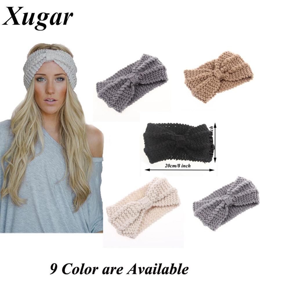 ③Invierno nueva moda de lana de ganchillo diadema arco para señora ...
