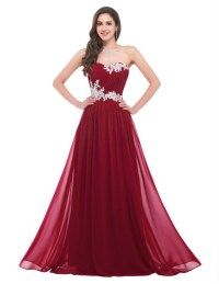 Simple Cheap Chiffon Ivory Appliques Long Burgundy Prom ...