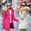 2016 winter new women s cotton Korean Slim and long sections thick hooded down padded ladies
