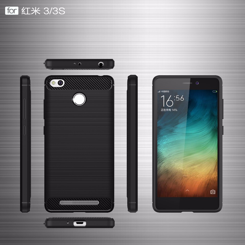 Shockproof Phone Case For Xiaomi Redmi 3s 3pro Wire Drawing Carbon Ipaky Fiber Note 5 Pro Softcase Tpu Backcase Soft Mobile Cases Cover