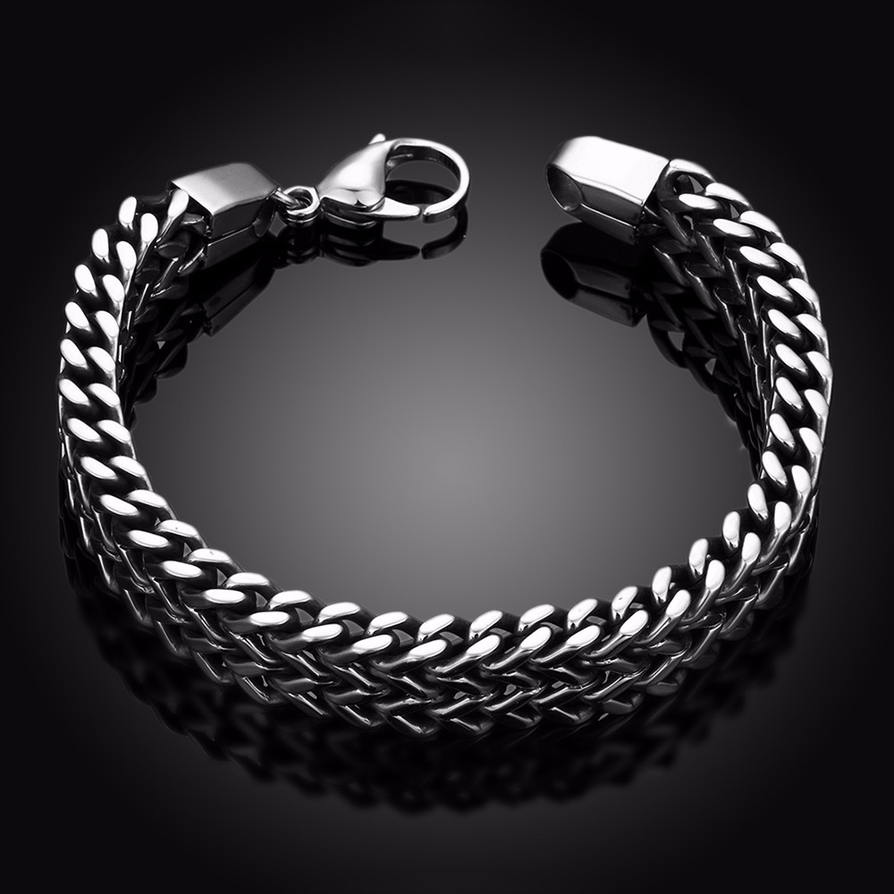 ⃝AMOURJOUX Brand 12MM Width Dual Layer Snake Chain 316L Stainless ...