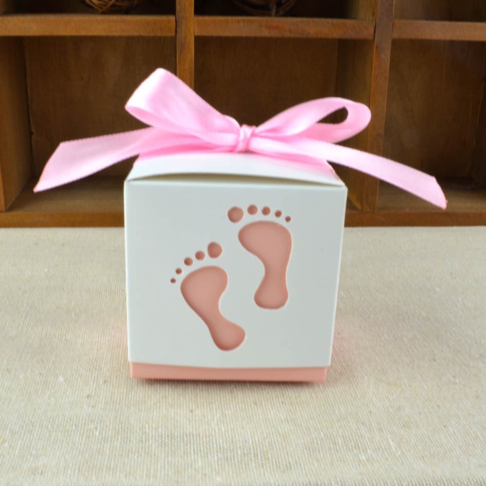 ᗜ LjഃBaby Shower Favors 10pcs Baby Footprint Laser Cut Candy Box ...