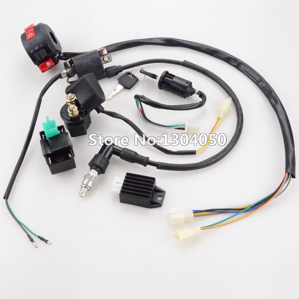 Full Wiring Harness Cdi Ignition Coil Kill Key Switch C7hsa Spark Semi Auto 50cc 125cc Chinese Made 4 Stroke Atv Quad Bikes Such As Atomik Foxico Motowork Tdr Ect Listing Price Including 1 X Wire