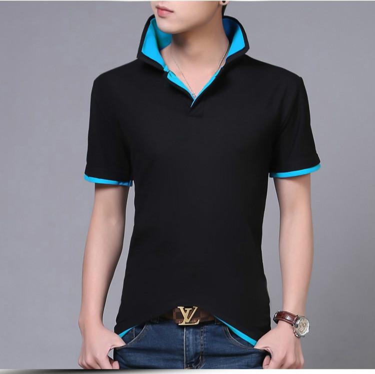 b51b4368e0 2017 verão coreano roupas de marca dos homens de manga curta camisa polo  magro contraste cor duplo algodão collar tops para homens m-xxxl. undefined