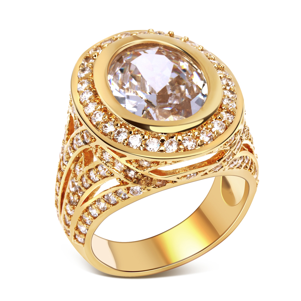 Natural stone ring Womens jewellery Gold filled Fashion