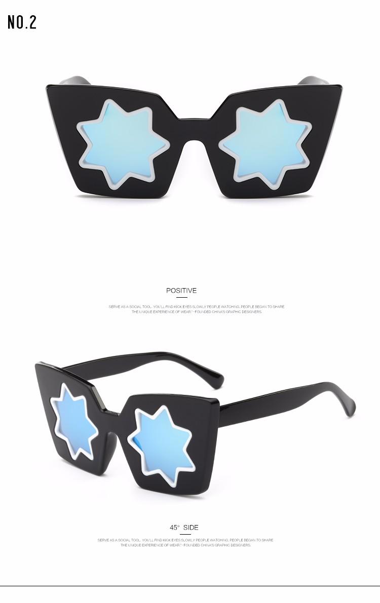 429ac50f75e70 Roza óculos de sol mulheres designer de marca de estilo de verão estrela de  cinco pontas-lente qc0403 cat olho quadro óculos de sol com caixa