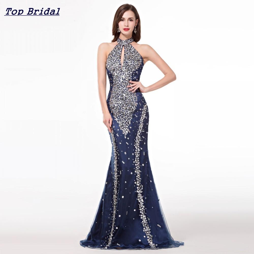 Mermaid Elegant Long Evening Dresses 2016 High Neck Navy