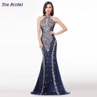 Mermaid Elegant Long Evening Dresses 2016 High Neck Navy