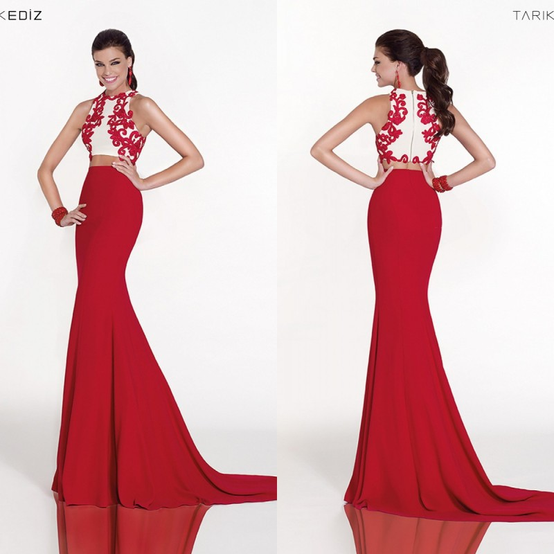 Modest Two Piece Prom Dress 2015 Long Red Mermaid Evening