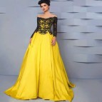 Yellow Long Sleeve Formal Dress