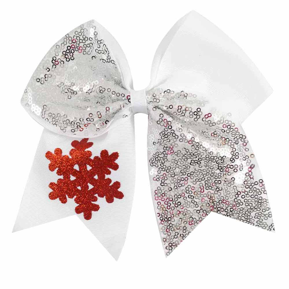 6pcslot 7 glitter snowflake sequins cheer hair bow with hair clips for girls women hair accessories christmas cheer bow