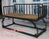 American retro wood wrought iron sofa chair Double deck ...