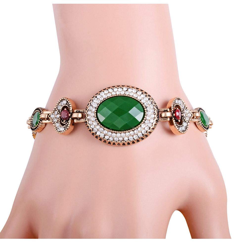 ③New Vintage Large Green Stone Bracelet Stylish Retro Gold Color ...