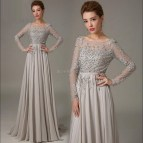 Grey Long Sleeve Formal Dresses