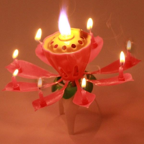 Lotus Flower Candles Birthday Cake