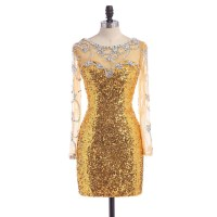 Long Gold Sequin Prom Dress 2015