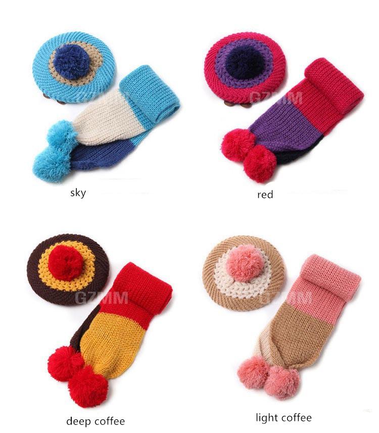 ⊰2017 niña invierno sombrero y bufanda set niños moda ganchillo ...
