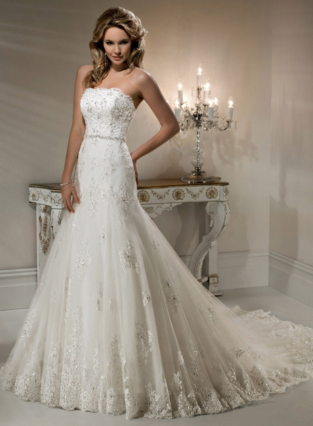 wedding dresses YW010 Hot Sale New Elegant Mermaid Bridal Gowns Beaded Strapless Appliqued Lace