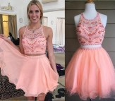 Pink Two Piece Homecoming Dress Short