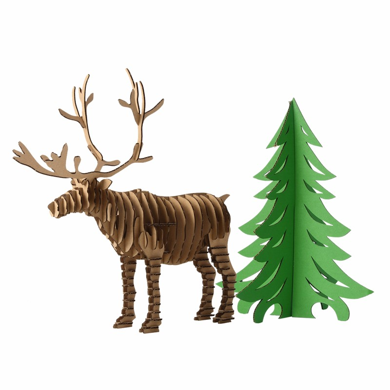 �decoration christmas tree and reindeer 3d puzzle diy