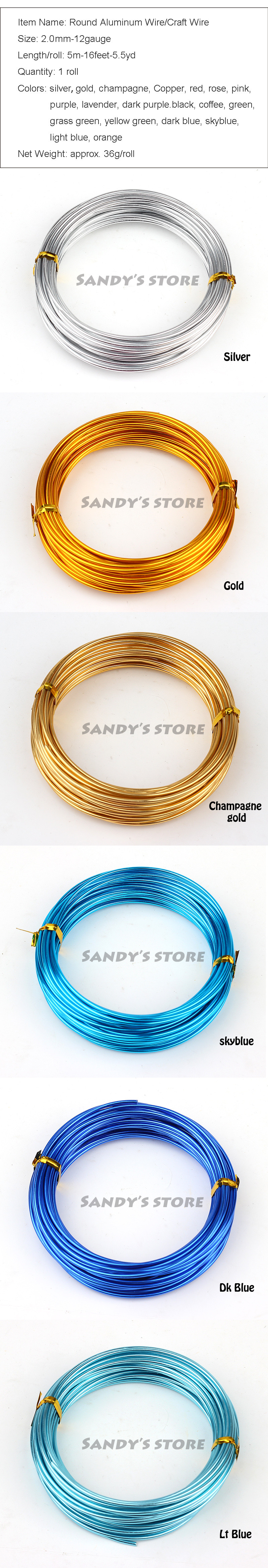 ᐊ2.0mm anodized aluminium craft wire color mixed 5m shape wire coil ...