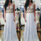 White Prom Dress with Gold Belt