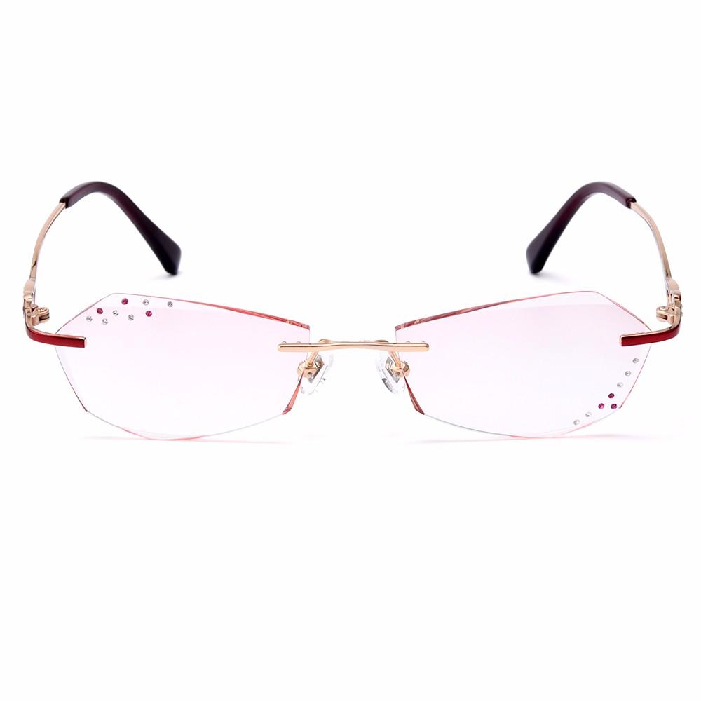 Gmei Optique Q18081 Sans Monture De Diamants De Coupe Lentilles Lunettes  Cadre pour Femmes Lunettes 792b0ee3d924