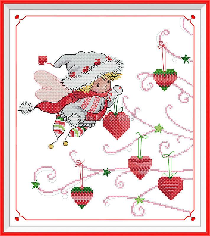 El Navidad regalos de espíritu Pegatinas para uñas puntada cruzada contada  11ct 14ct algodón de dibujos animados punto de cruz Sets costura Bordado ...