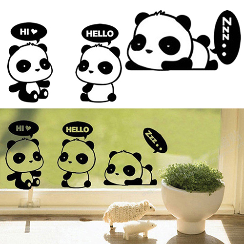 ̀ •́ 24pcs Lovely Cartoon Panda Room Window Door Decals Decor ...