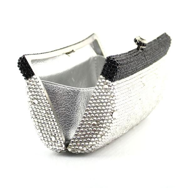 3969f6287acb Для женщин Сумки черный и серебристый Кристалл вечерние кошелек ...