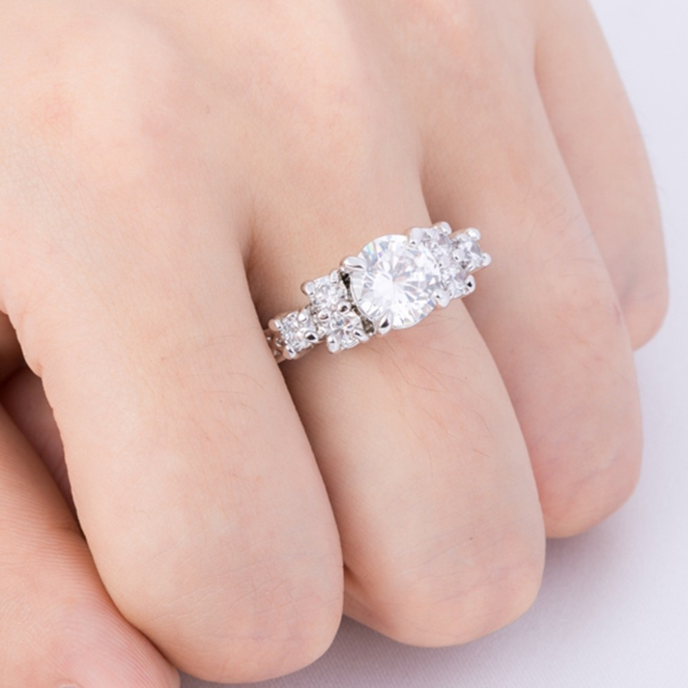ღ ღSize 4-12 Rhodium Plated White Gold Silver Wedding Engagement ...