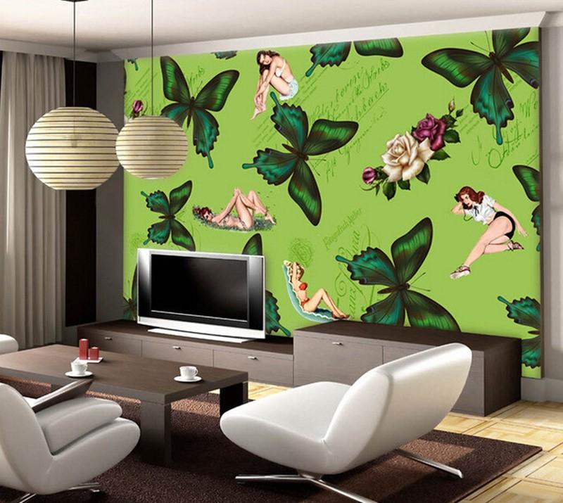 ▽Personalizado mariposa verde ilustración nostálgico retro sexy ...