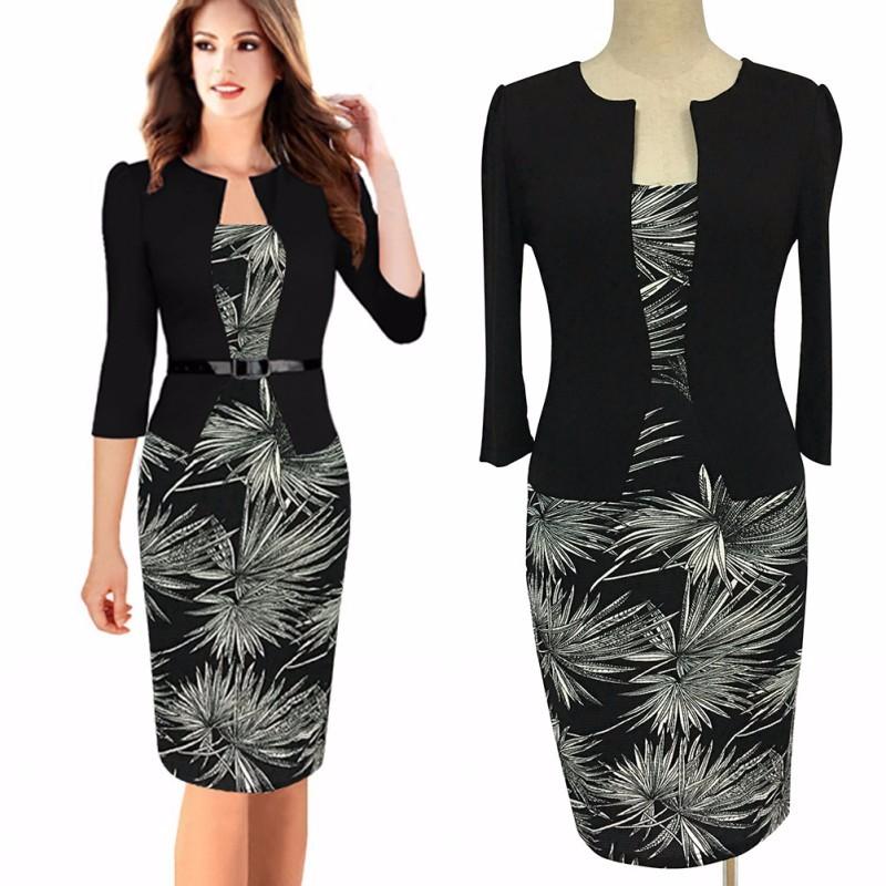 db7d1073979a FD3415A Lady Pine Leaves Print Patchwork Plus Size Pencil Dress Fake Two  Piece Dresses Vestido Robe Jupe Elbise Saias Belt gift