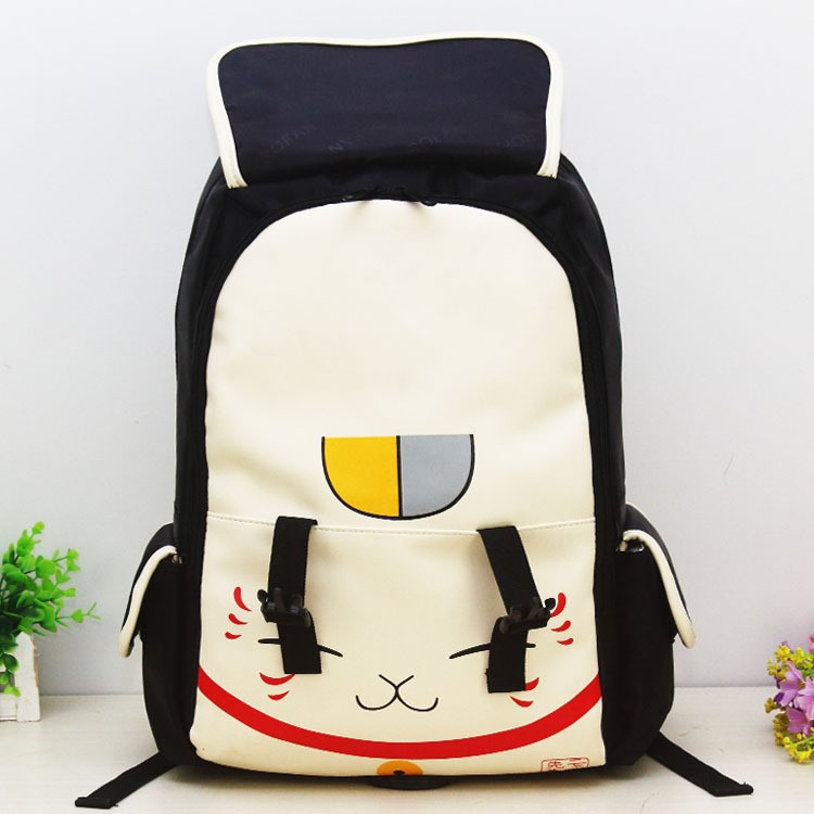 Japanese Anime Printed Schoolbag Beige Cute Cat Canvas Backpack Women  Student School Leisure Cartoon Laptop Schoolbag Feminine eeadfb006dde7