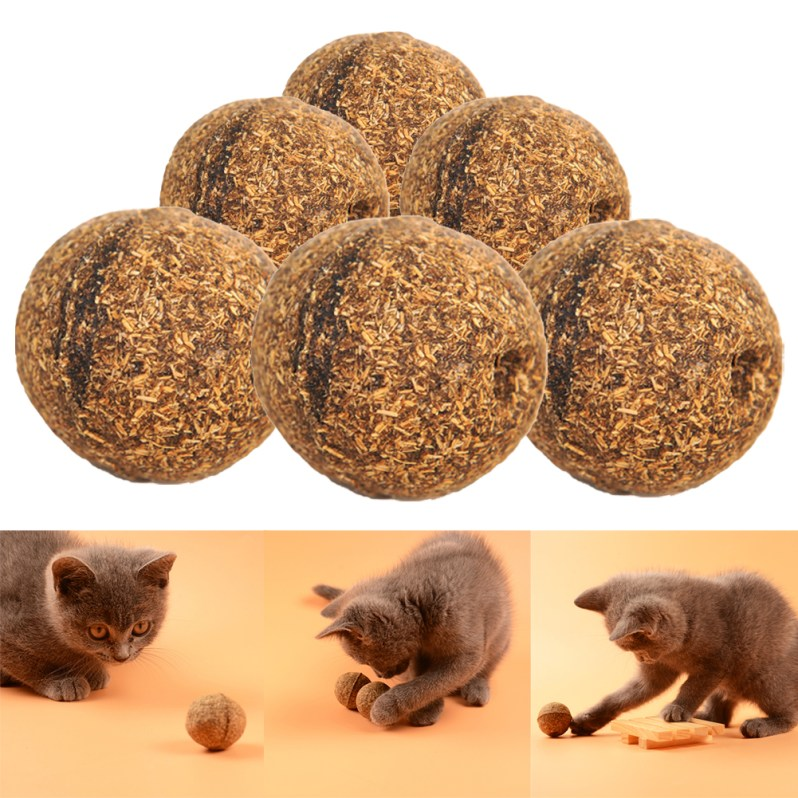3Pcs Pet Cat Natural Catnip Treat Ball Favor Home Chasing Toys Healthy Safe Edible Treating Cat Toy Pet Products for Cats