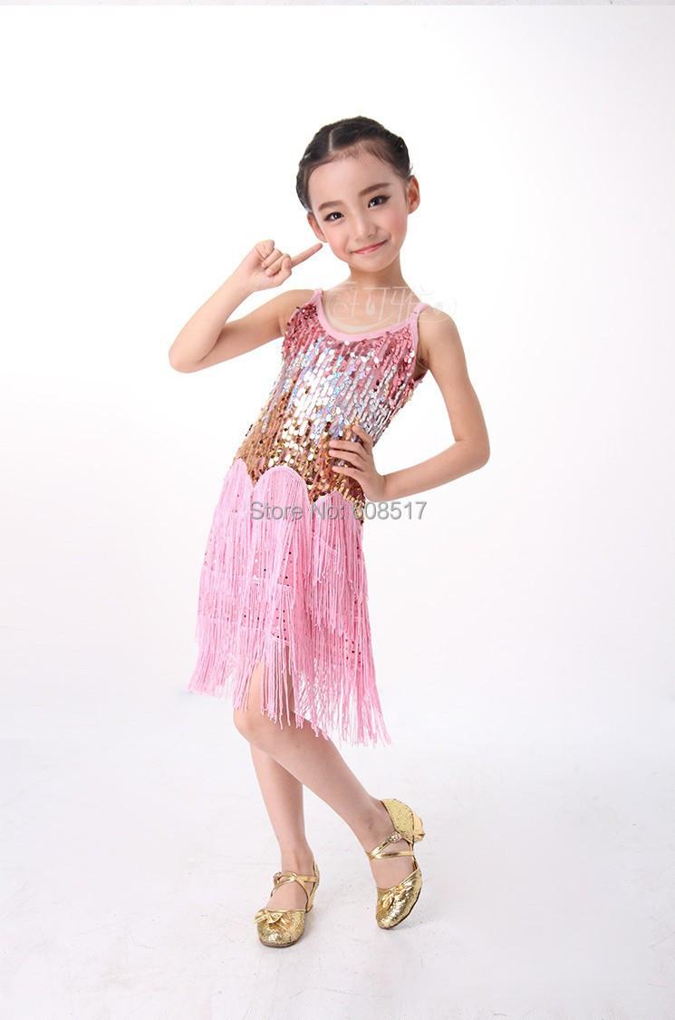 ΞLentejuelas borla niños traje de Danza Latina vestido niños vestido ...