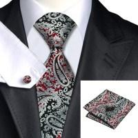 C 359 Classic Neck Tie Set Black Silver Red Mens Tie