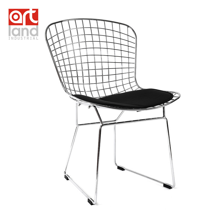 metal wire side chair with seat cushion high quality white
