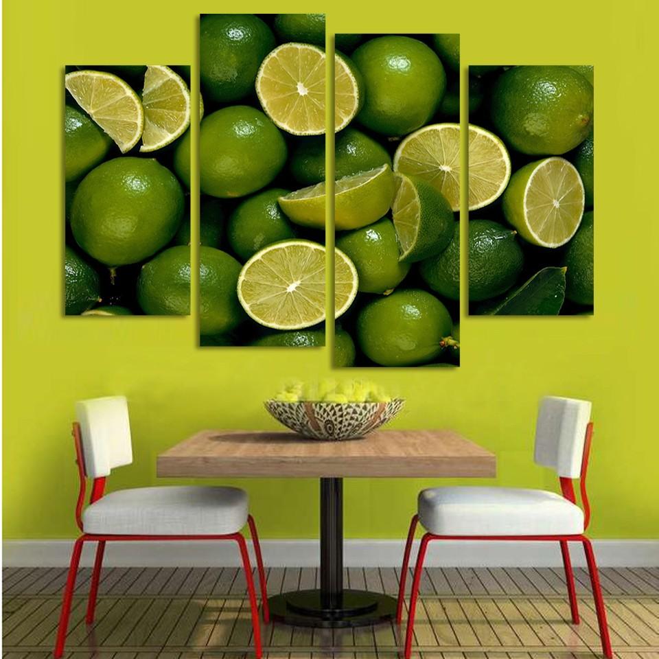 ღ ღ2017 high-quality modern printed canvas 4 pieces lemon fruit ...