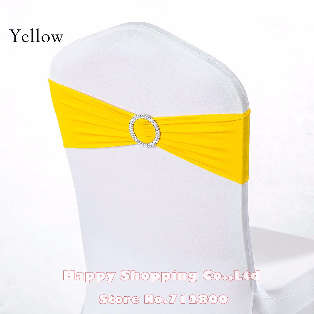 yellow spandex chair sashes steelcase leap with headrest 4 pieces wedding gold pink orange sash bands bow party birthday decoration